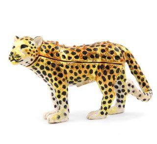 "Objet D'Art Release #177 ""The Amur Leopard"" Critically Endangered Species Handmade Jeweled Metal & Enamel Trinket Box   Action Figure Accessories"