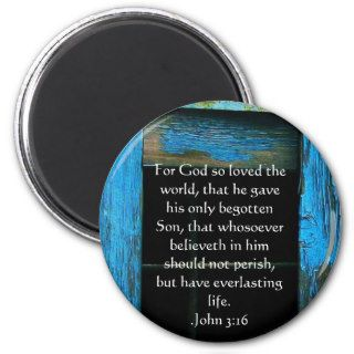 John 3:16 Christian Inspirational Quote Refrigerator Magnets