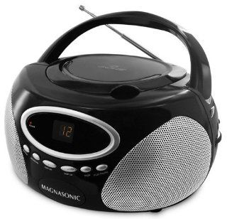 Magnasonic MAG MA173K Portable Stereo CD Player Boombox with LED Display, AM/FM Radio & 3.5mm  Auxiliary Input Jack   Players & Accessories