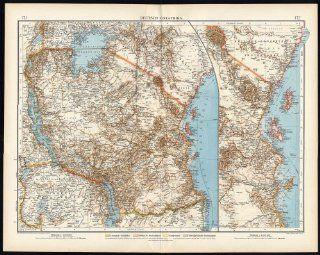 Antique Map GERMAN EAST AFRICA COLONIES ZANZIBAR TANZANIA RWANDA 171 Andree 1893   Lithographic Prints