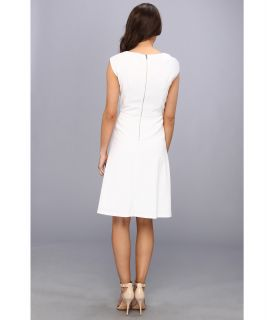 Calvin Klein Cap Sleeve Solid Aline Lux Fress Dress White
