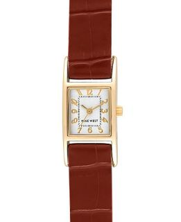 Nine West Watch, Womens Brown Leather Strap NW 1178SVBE   Watches   Jewelry & Watches