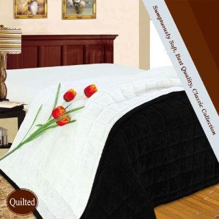 Queen Quilted Blanket Sumptuously Soft Black Microfiber Super Fleece Blankets / Reversible Winter Bedspread   Bed Blankets