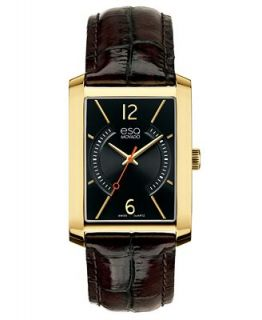 ESQ Movado Watch, Mens Swiss Synthesis Brown Calfskin Leather Strap 30mm 07301419   Watches   Jewelry & Watches