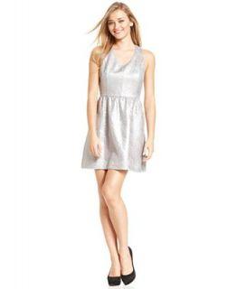 kensie Dress, Sleeveless V Neck Metallic Brocade A Line   Dresses   Women