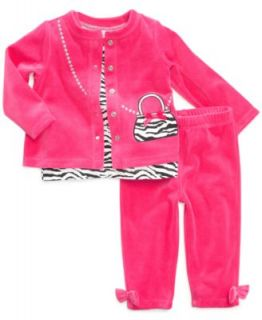 First Impressions Baby Set, Baby Girls Kitten Velour 3 Piece Tee, Jacket and Pants   Kids