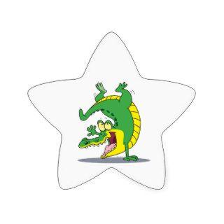 happy alligator crocodile cartoon dancing star stickers