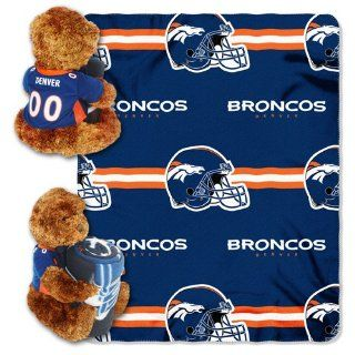 Northwest Denver Broncos 40 inch x 50 inch Fleece Blanket with Bear : Sports Fan Sweatshirts : Sports & Outdoors