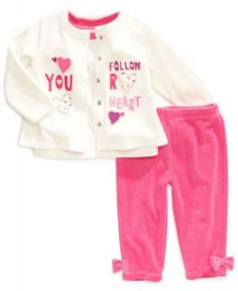 First Impressions Baby Set, Baby Girls Bow Velour 3 Piece Shirt, Jacket and Pants   Kids