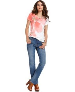 Lucky Brand Jeans Short Sleeve Printed Scoop Neck Top & Straight Leg Jeans   Women