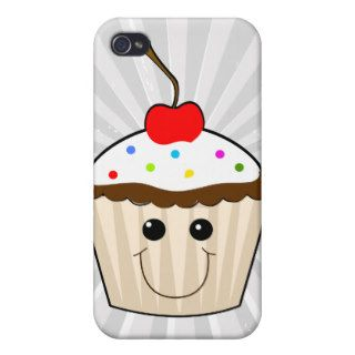 happy smiley face kawaii cupcake character iPhone 4/4S cases
