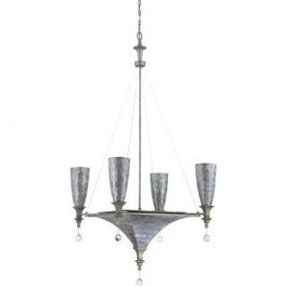 Yosemite Home Decor CL103C 3 4GR Capiz 7 Light Incandescent Chandelier with Gray Capiz Shade