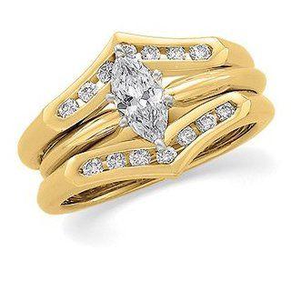 1/4 CT TW 14K Yellow Gold Diamond Ring Guard: Jewelry