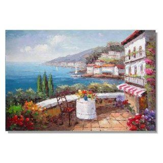Italian Mediterranean Garden by Sea with Flowers Impressionist Landscape Oil Painting Canvas Art High Quality Home & Office Decor