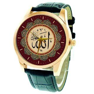 The Name of Allah   Important Large Format 44 mm Islamic Calligraphy Art Solid Brass Wrist Watch at  Women's Watch store.