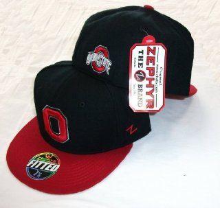 Ohio State University OSU Buckeyes 2 Tone Fitted Flat Brim Hat / Cap 8  Baseball Caps  Sports & Outdoors