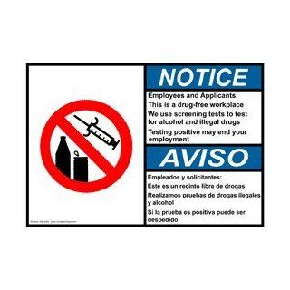ANSI NOTICE Drug Free Workplace Bilingual Sign With Symbol ANB 8063  Business And Store Signs