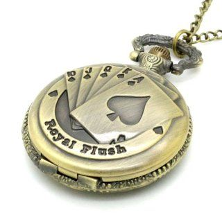 Conbays Antique Bronze Royal Flush Poker Cards Pocket Watch Necklace Chain Xmas Gift: Watches