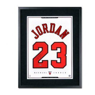 Michael Jordan Chicago Bulls Framed Autographed White Mesh Jersey Numbers Piece : Sports Related Collectibles : Sports & Outdoors