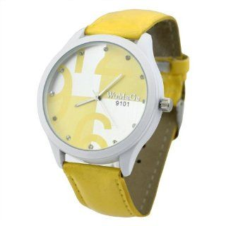 Fancasen Lady Girls Fashion Candy Color Watches  Yellow Quartz Wrist Watch Watches: Watches