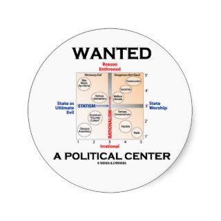 Wanted A Political Center (Pournelle Chart) Sticker