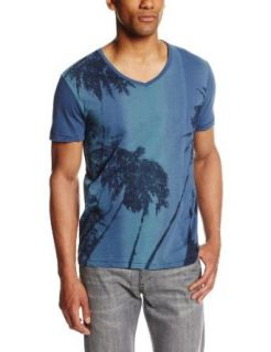 Calvin Klein Jeans Men's Tonal Palm Short Sleeve V Neck Tee, Faded Navy, Small at  Men�s Clothing store: