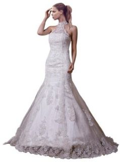 ZHUOLAN Elegant New Halter Neck Mermaid Lace over Satin Wedding Dress at  Women�s Clothing store: