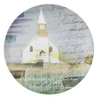 elegant vintage church chapel country anniversary plate