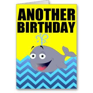 Funny Whale Birthday Cartoon Cards