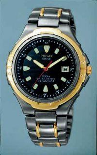 Pulsar Mens Solar Powered Watch   Titanium  Black Dial —