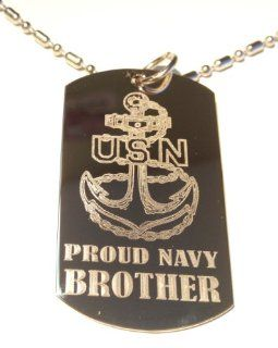 """United States Navy USN Anchor Armed Forces """"Proud Navy Brother"""" Engraved Star Logo Symbols   Military Dog Tag Luggage Tag Metal Chain Necklace"""