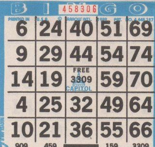 Bingo Paper   1 Card Per Sheet, 25 Sheets to a Booklet. 60 Booklets to a Pack Totaling 1500 Cards : Sports & Outdoors