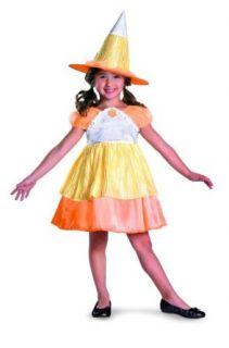 Sugar Shock Candy Corn Witch Classic Costume, Yellow/Orange/White, Child: Clothing