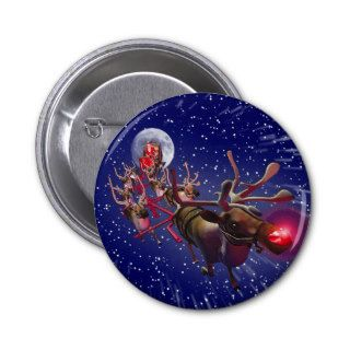 Flying Santa Claus & Rudolph, Red Nosed Reindeer Pinback Button