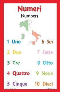 Italian Language Poster   Number Chart for Classroom and Playroom : Themed Classroom Displays And Decoration : Office Products