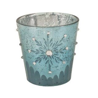Saro Lifestyle V519.A3 3 Inch Mini Snowflake Design Votive Holiday Candle Holder with Frosted Rhinestones, Aqua
