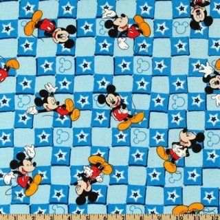 44'' Wide Disney Mickey Mouse Star Check Blue Fabric By The Yard