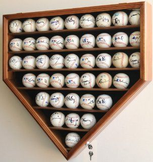 43 Baseball Display Case Cabinet Holder Wall Rack Home Plate Shaped w/ UV Protection  Lockable  Walnut  Sports Related Display Cases  Sports & Outdoors