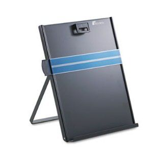 """Fellowes Mfg. Co. Products   Metal Copyholder, Letter, 10 5/8""""x8 3/8""""x11 3/8"""", Black   Sold as 1 EA   Easel style copyholder adjusts for appropriate viewing angle. Removable magnetic paper holder keeps copy securely in place on the metal sta"""