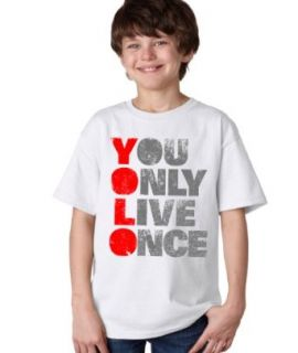 YOU ONLY LIVE ONCE (YOLO) Tee Youth T shirt / Optimist, Carpe Diem Tee Shirt: Clothing