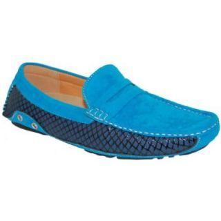SHOE ARTISTS Ocean Blue Suede Look Moccasin, Size, 12 Shoes