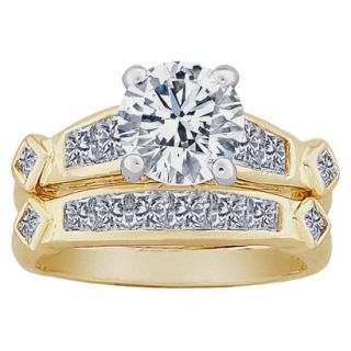 2 Piece Round & Square CZ Wedding Ring Set   Two