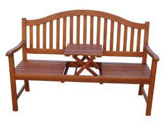 ... Gartenbank, Holzbank, Eukalyptusbank Mit Ausklappbarem Tisch Eukalyptus  Holz FSC, 3 Sitzer Bank Garten ...