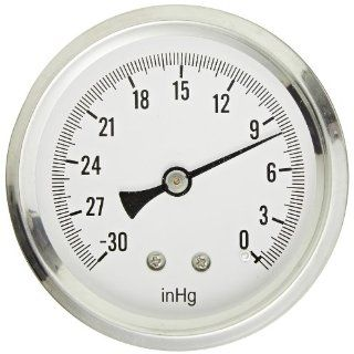 """PIC Gauge S202L 254A Glycerin Filled Industrial Center Back Mount Pressure Gauge with Stainless Steel Case, Brass Internals, Plastic Lens, Single Scale, 2 1/2"""" Dial Size, 1/4"""" Male NPT Connection Size, 30""""/0 hg Vac psi Range: Industrial &amp"""