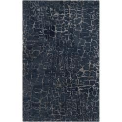 Hand tufted Contemporary Blue Papillion New Zealand Wool Abstract Rug (8 X 11)