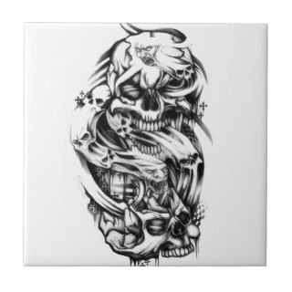 Evil skull tattoo style art. Sin and smoke skulls. Ceramic Tile