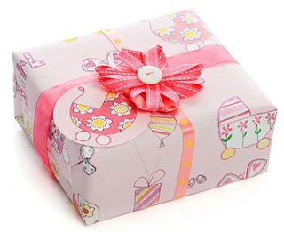 baby girl gift wrap & card, bow & ribbon set by paper salad