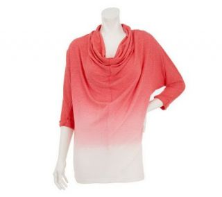 Belle Gray by Lisa Rinna Dip Dye Dolman Sleeve Cowl Neck Top —