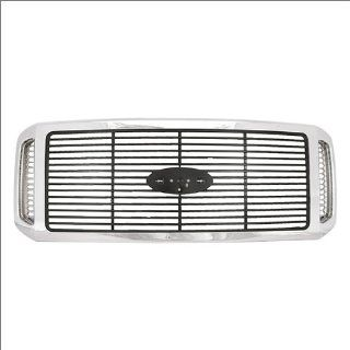 CarPartsDepot, Chrome With Black Billet Grille Outlaw New Replacement Grill Pickup 4 Dr, 400 18515 FO1200459 6C3Z8200AAA Automotive