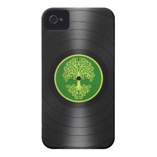 Green Tree of Life Vinyl Record Graphic iPhone 4 Cases